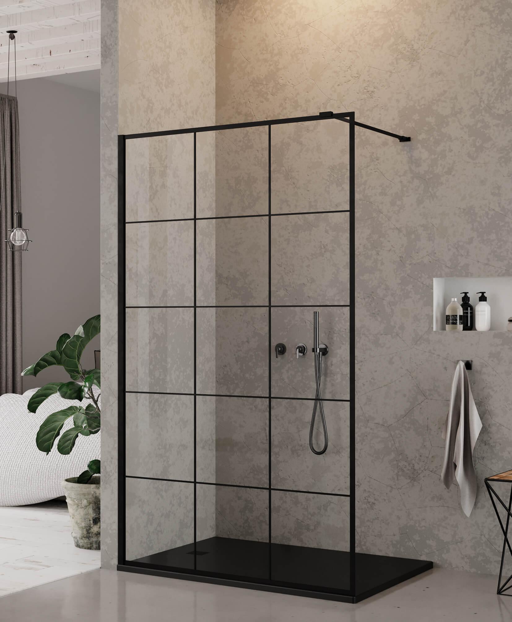 Ścianka szklana New Modus Black - wzór z kratą.