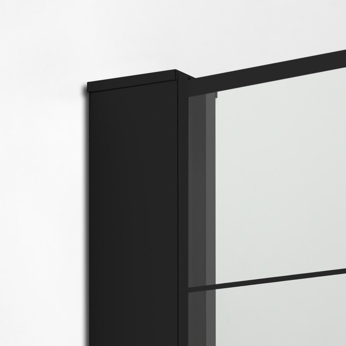 Ścianka prysznicowa 100x200 Modus Black - zbliżenie na detale.