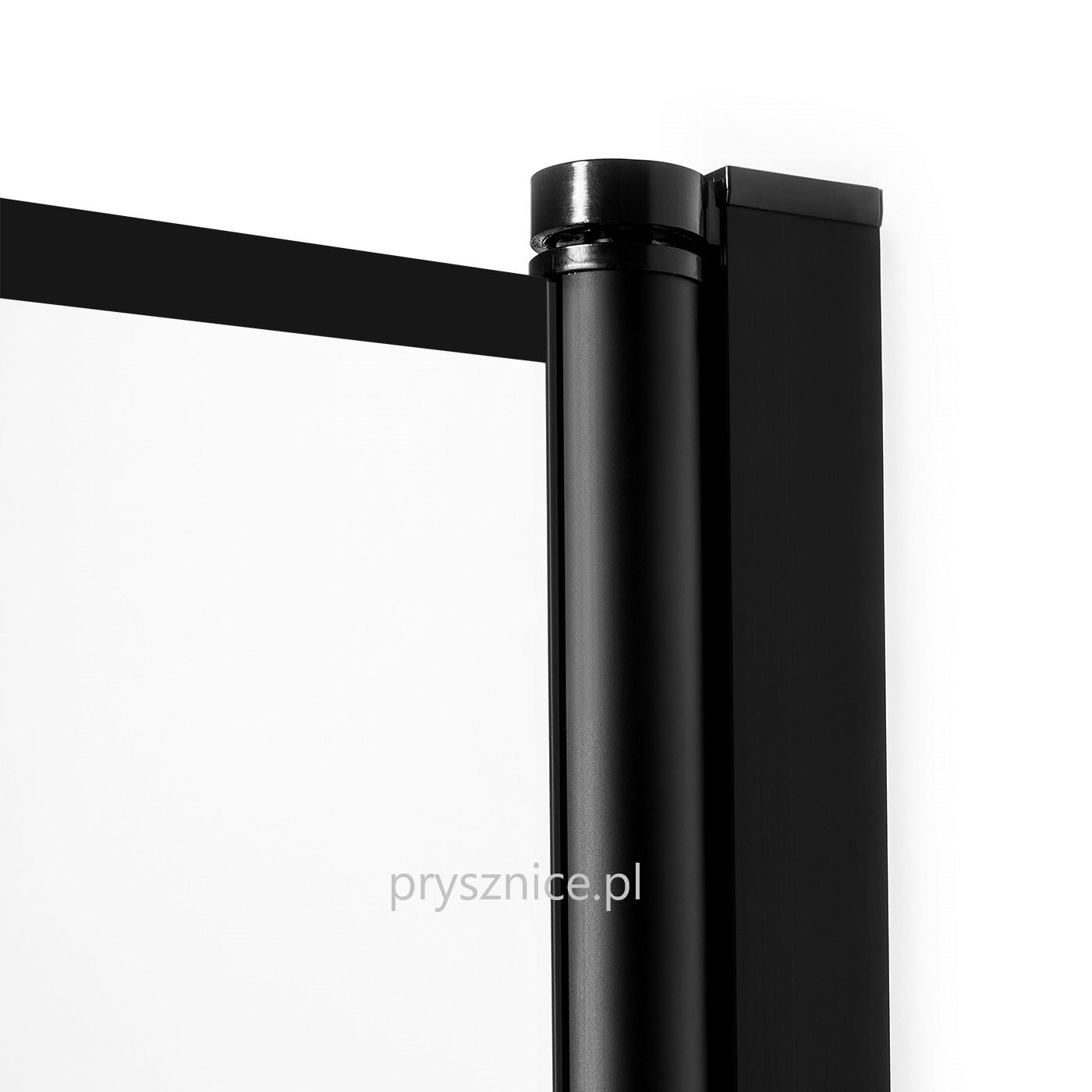 Czarny zawias kolumnowy w kabinie Superia delikatnie unoszący drzwi podczas otwierania