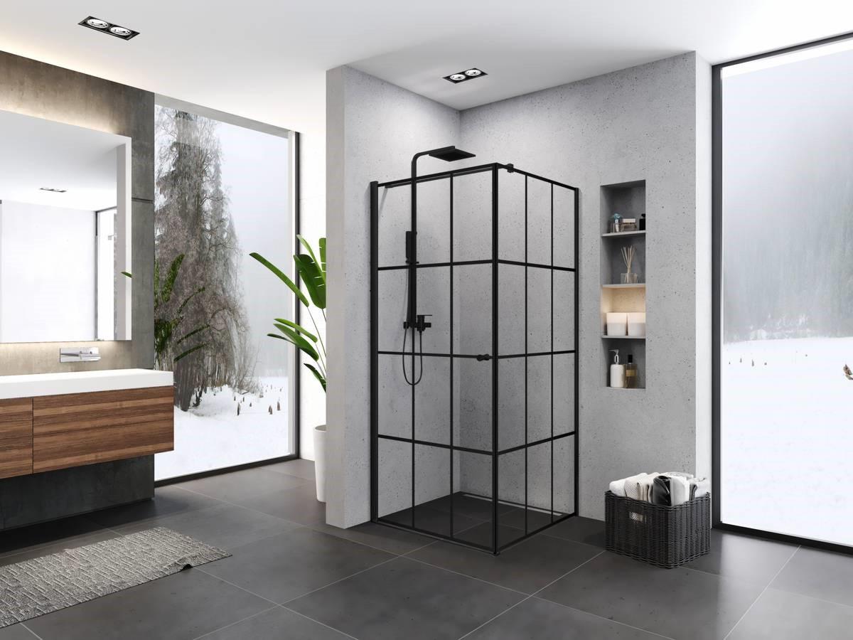 Czarna kabina prysznicowa 90x90 -  kratka