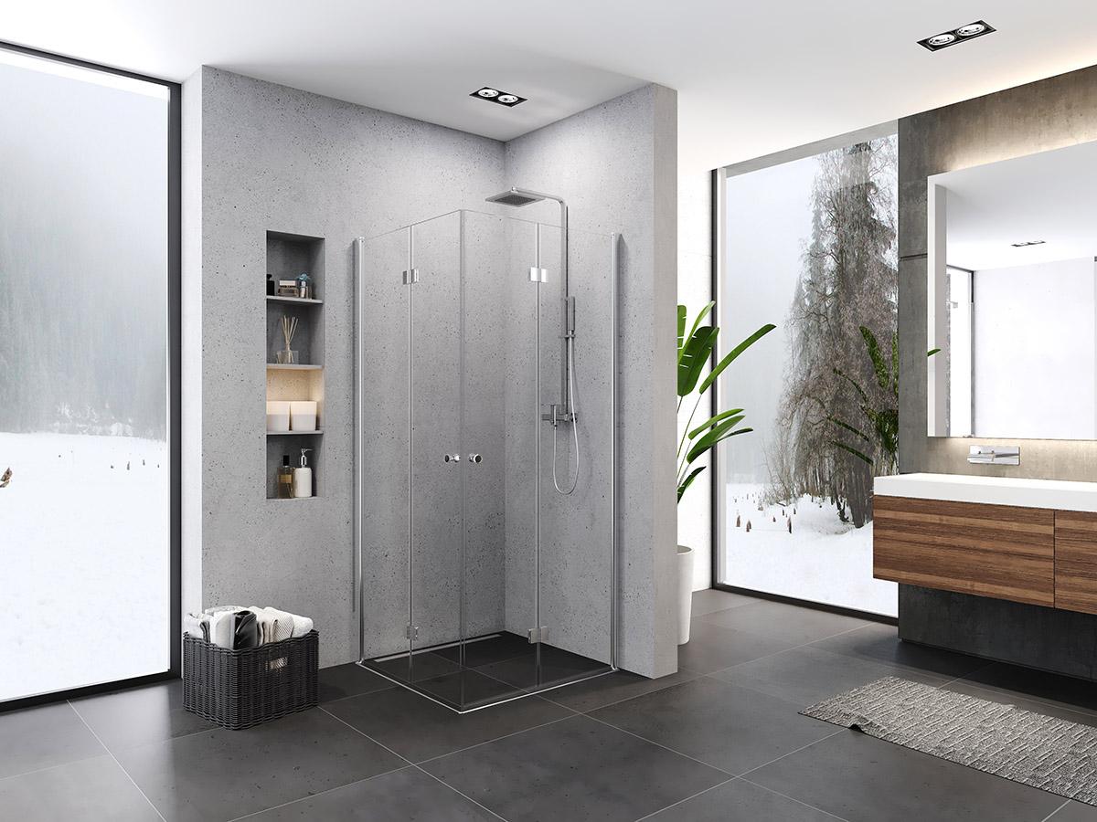 Kabina prysznicowa z drzwiami składanymi 90x90 Superia