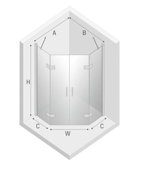 Kabina Pentagonalna 90x90 New Azura - wykończenie.