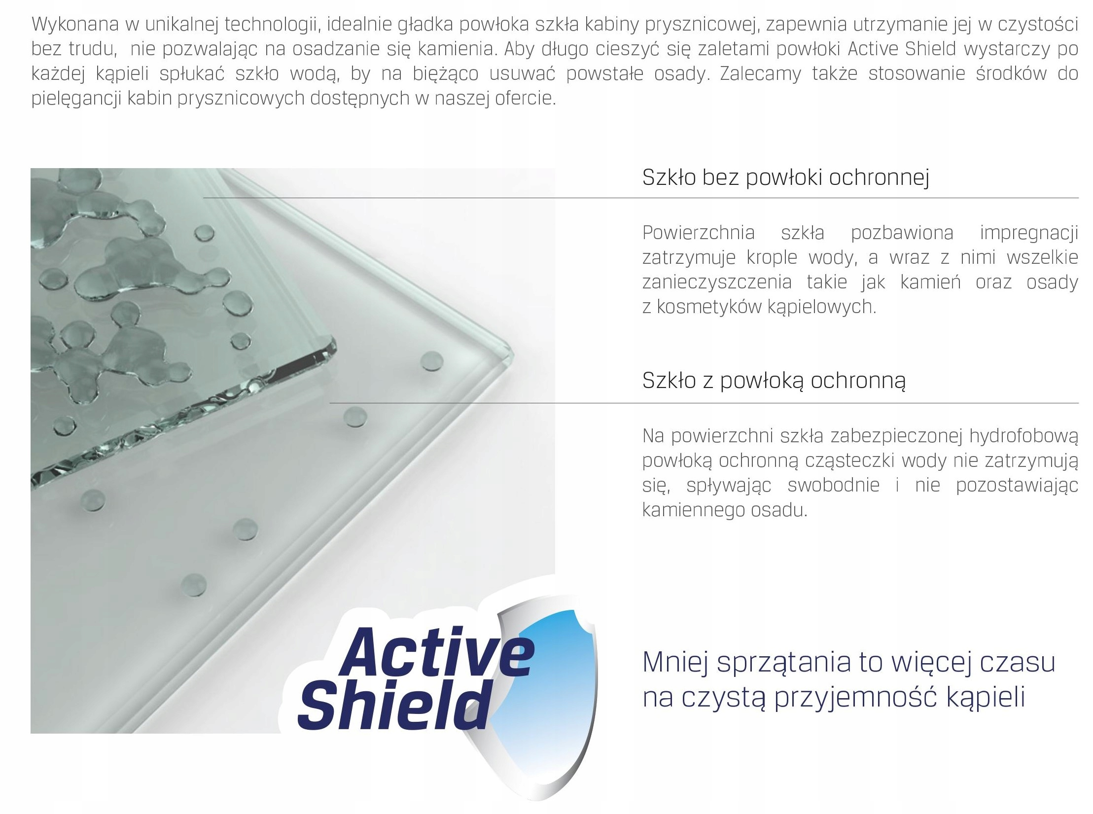 Szkło zabezpieczone specjalną powłoką hydrofobową ułatwiające utrzymanie czystości w łazience