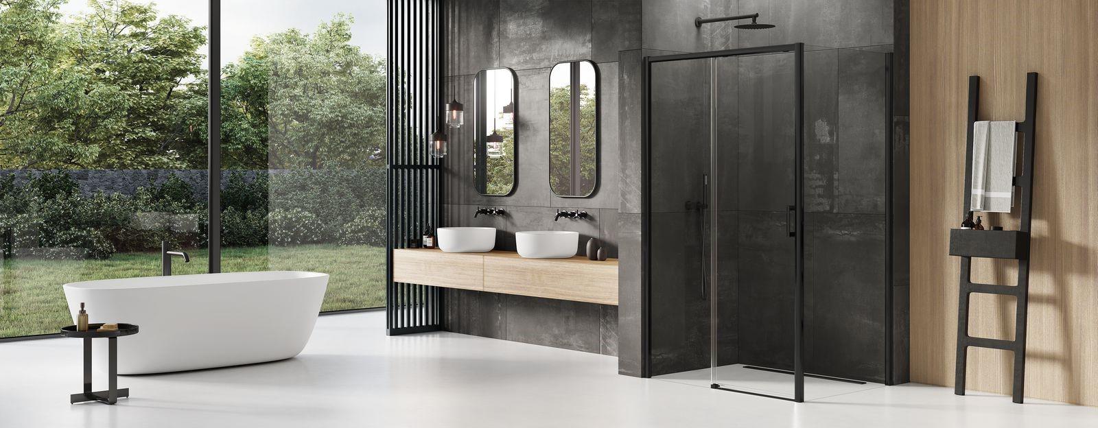 Ekskluzywna kabina pryszniocowa z czarnym wykończeniem