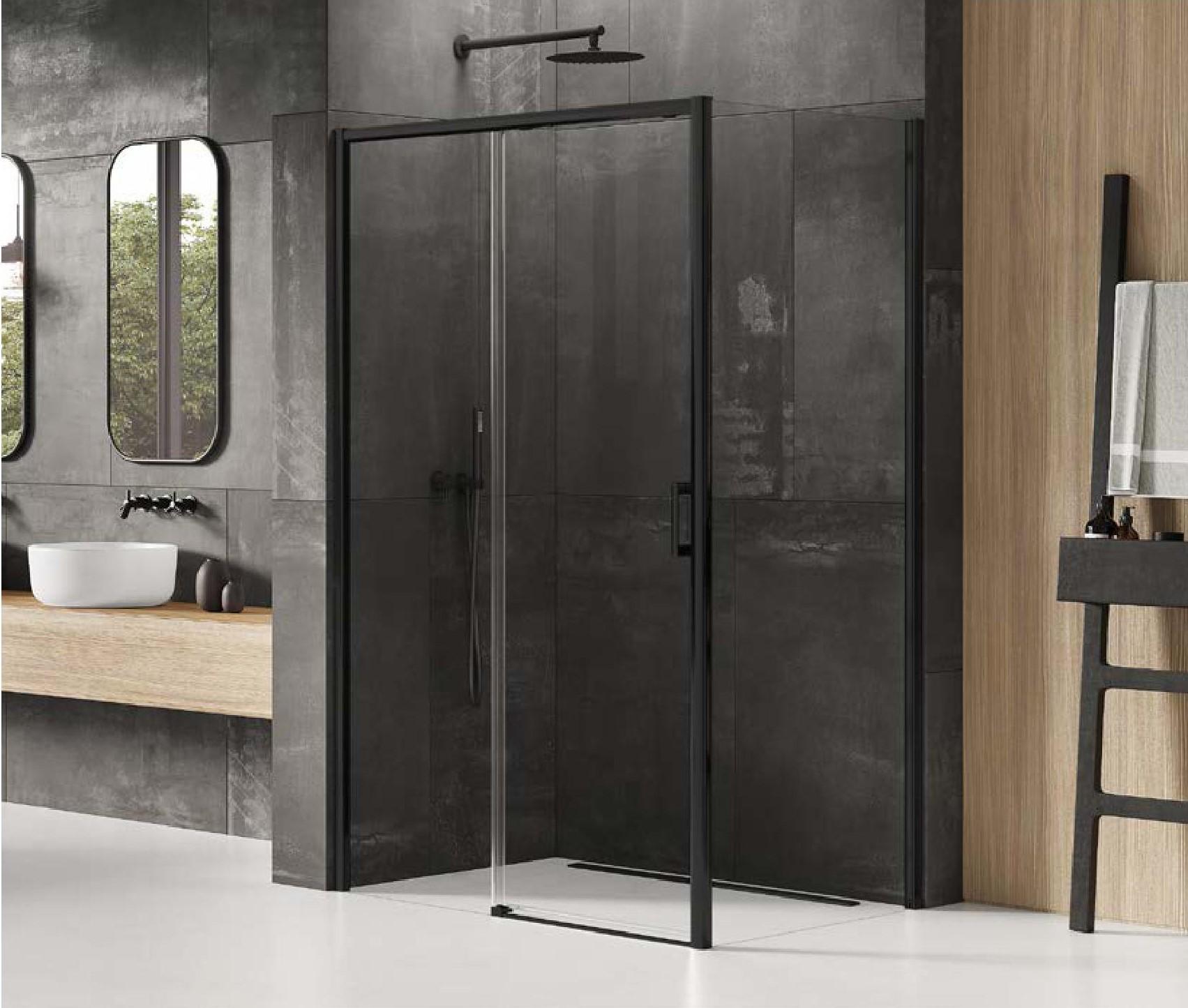 Kabina prysznicowa 120x80 z czarnymi profilami lewa
