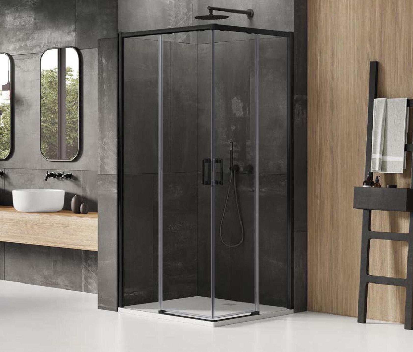 Elegancka i nowoczesna kabina Prime Black z drzwiami rozsuwanymi