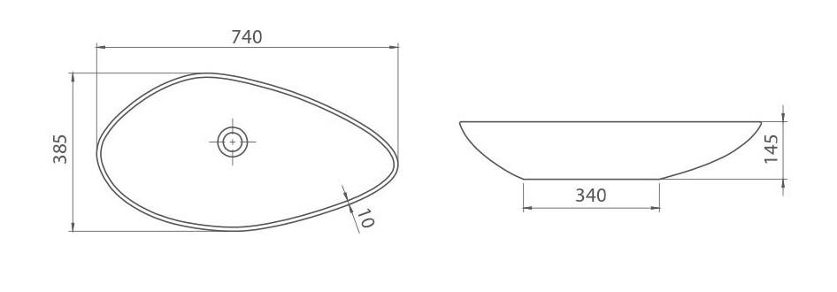 Umywalka Olive rysunek techniczny