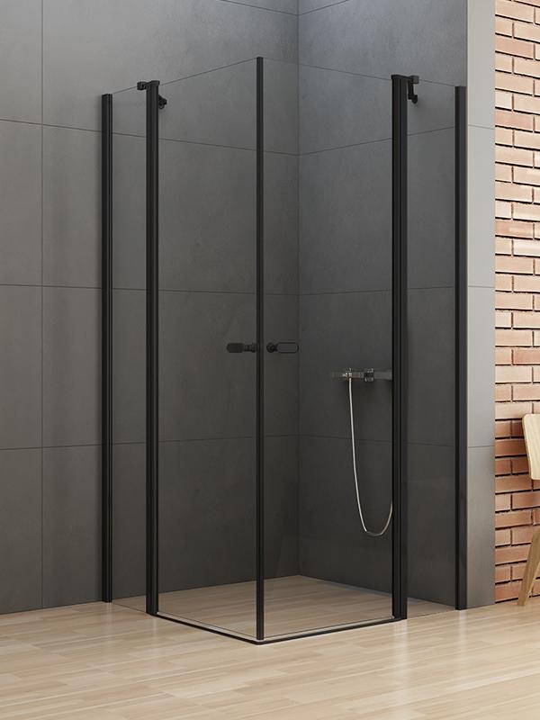 Kabina z czarnymi profilami New Soleo Black z drzwiami uchylnymi