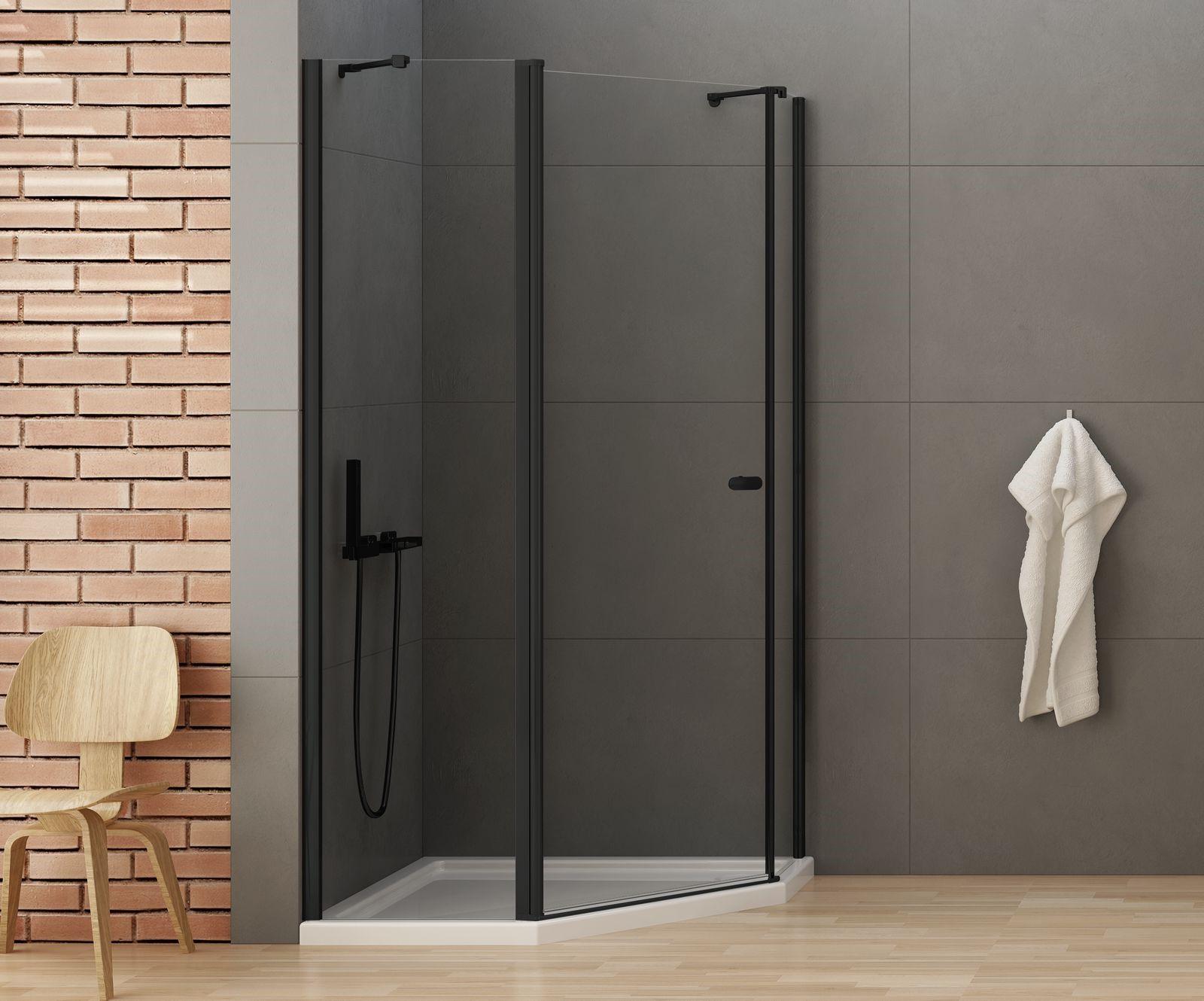 Kabina prysznicowa 100x80 z czarnymi okuciami New Soleo Black