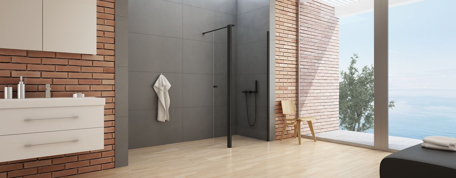 czarna kabina prysznicowa walk-in 90x34x195