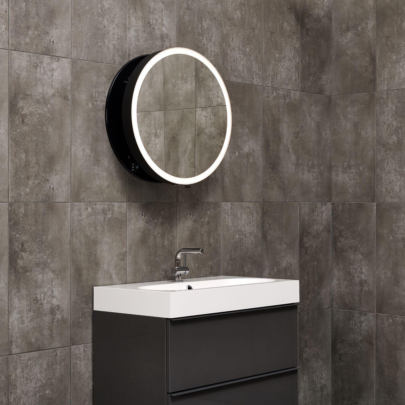 lustro okrągłe czarne 60 cm