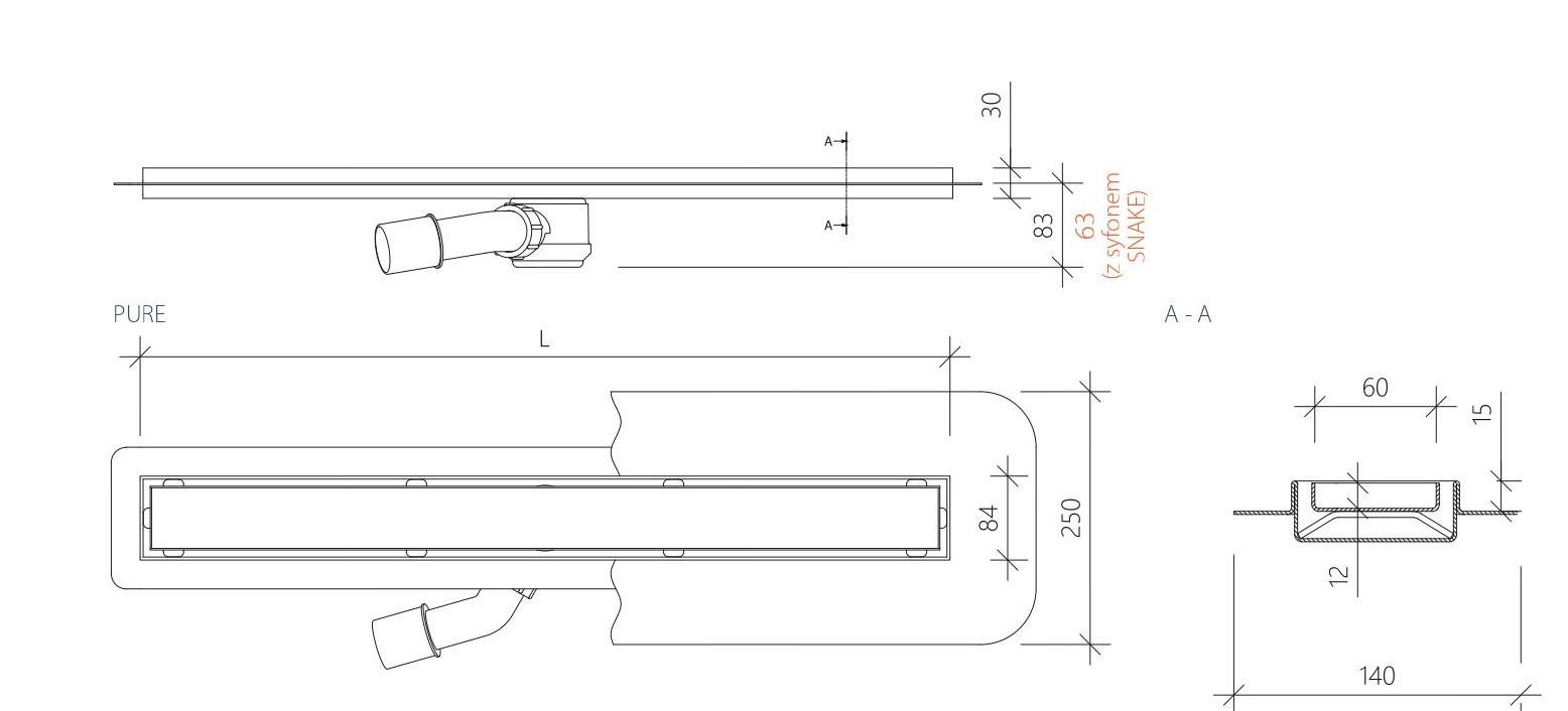 Sposób montażu odpływu liniowego z nóżkami 60 cm.