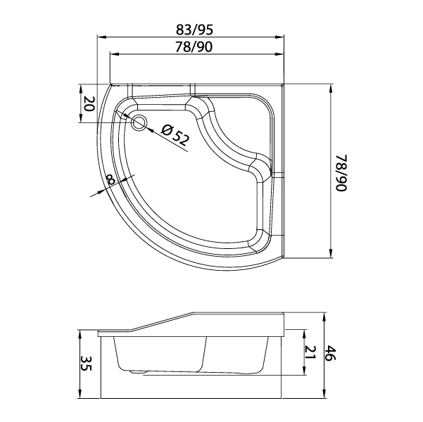 Kabina półokrągła New Trendy Optima - specyfikacja techniczna brodzika.