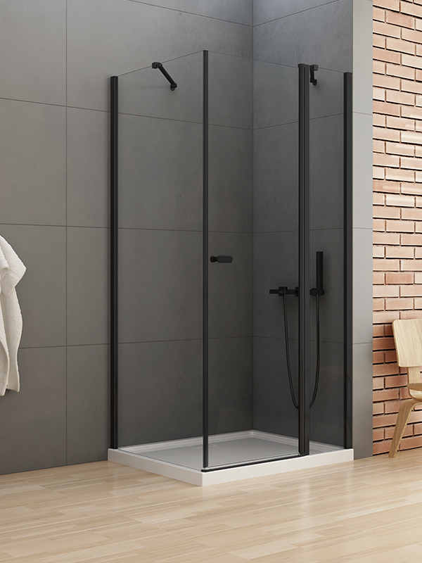 Kabina kwadratowa 100x100 New Soleo Black z drzwiami uchylnymi i ścianką stałą K-0546