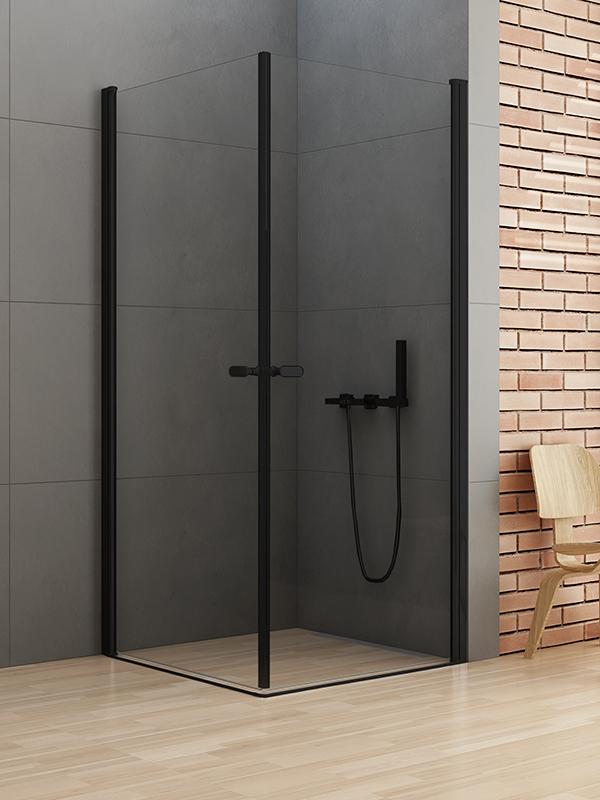 Kabina kwadratowa 90x90 New Soleo Black drzwi uchylne podwójne D-0231A/D-0231A