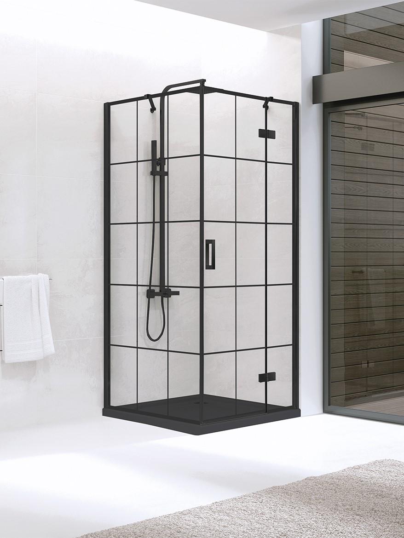 Kabina New Renoma Black kwadratowa 90x90 drzwi uchylne wzór krata D-0274A/D-0119B
